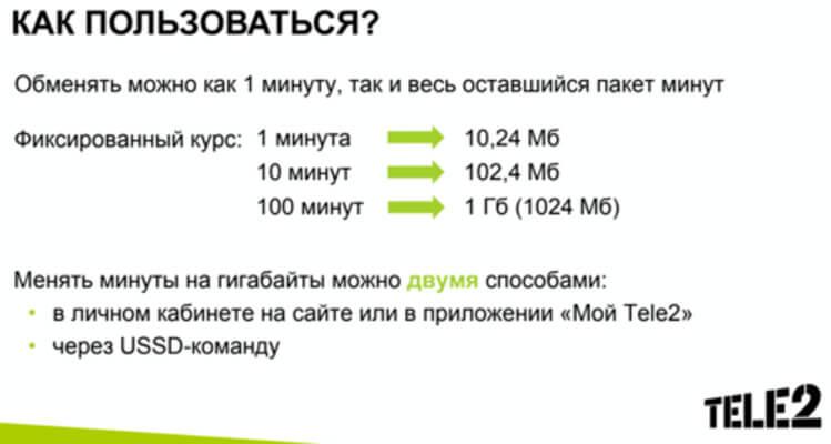 обмен минут на гб теле2